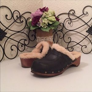 UGG Leather & Fur Clogs